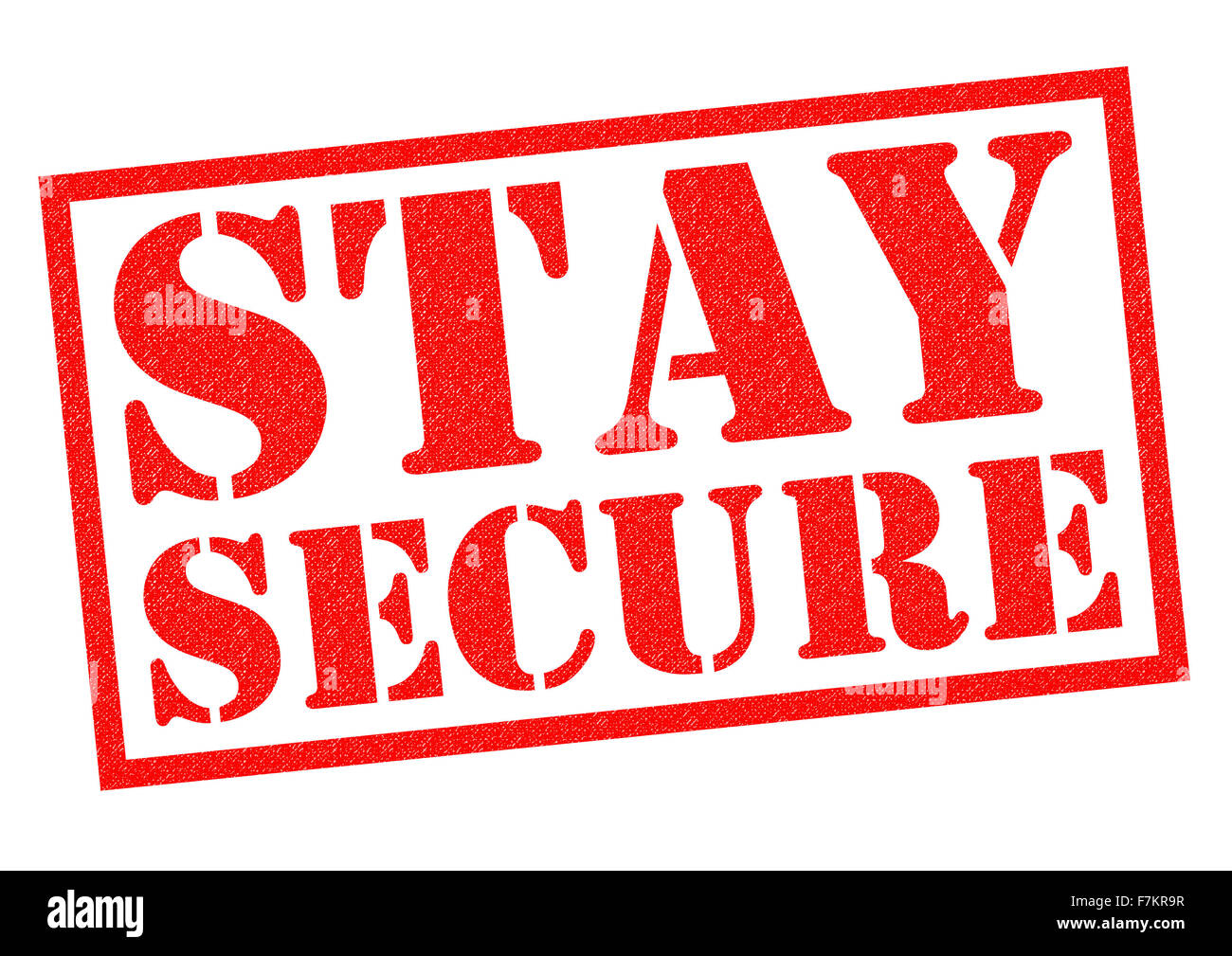 STAY SECURE red Rubber Stamp over a white background. - Stock Image