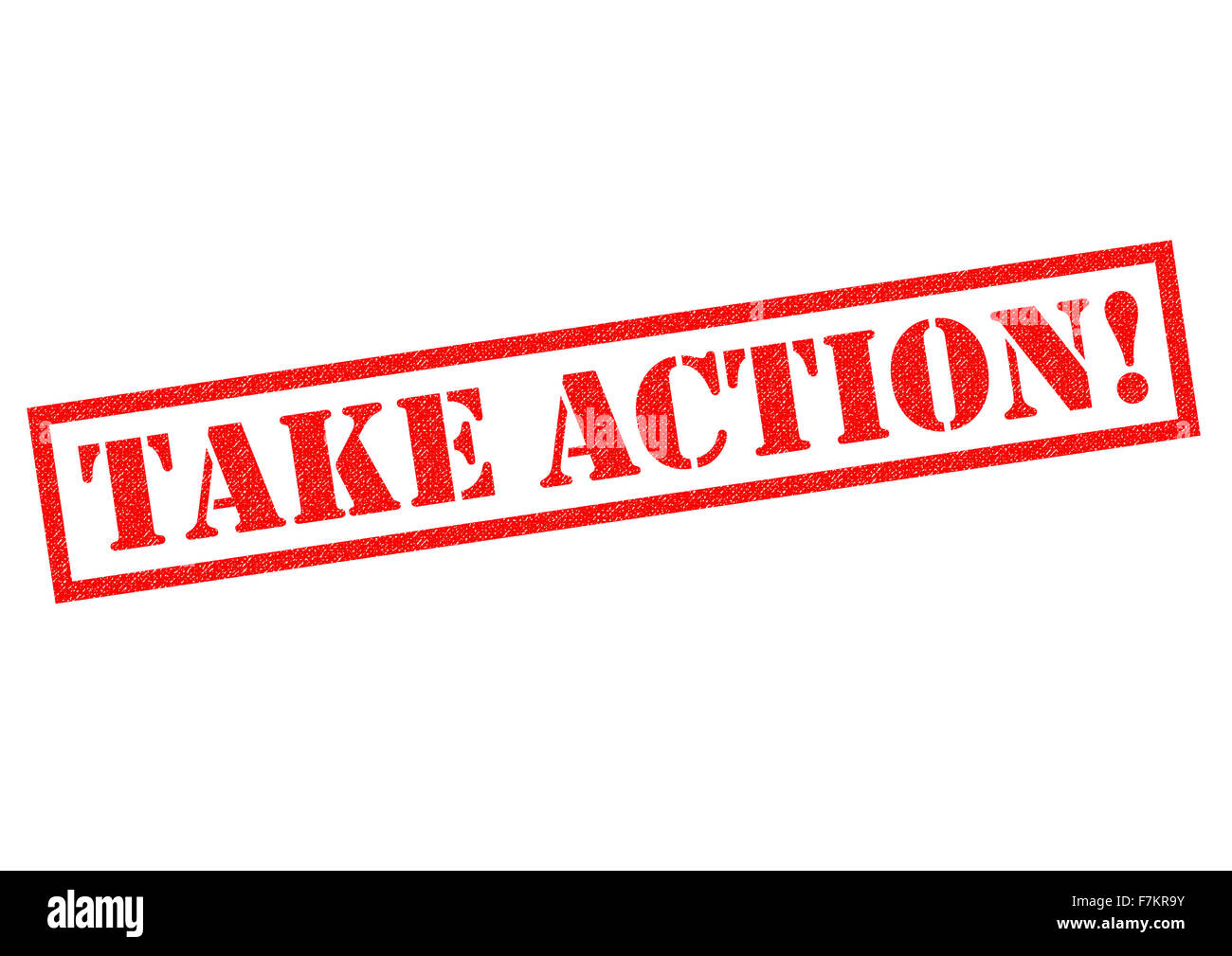 TAKE ACTION! red Rubber Stamp over a white background. - Stock Image