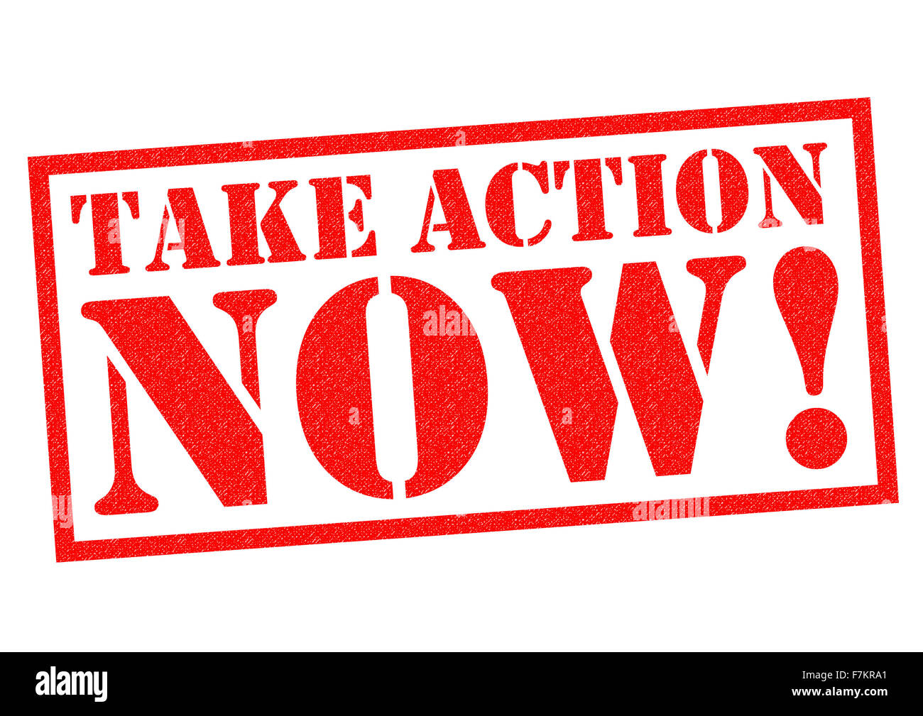 TAKE ACTION NOW! red Rubber Stamp over a white background. - Stock Image