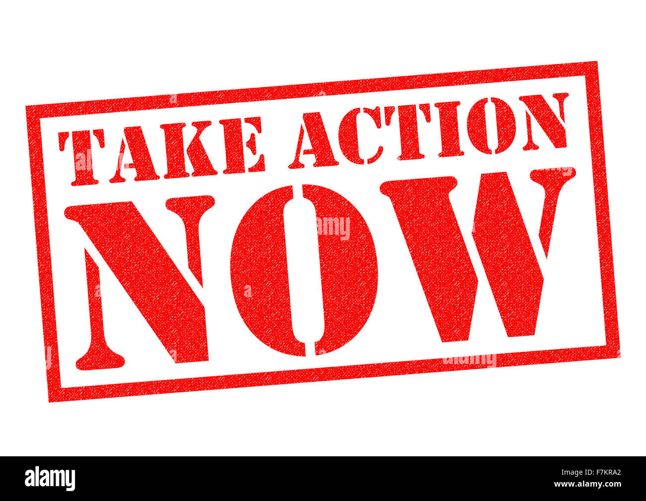 TAKE ACTION NOW red Rubber Stamp over a white background. - Stock Image