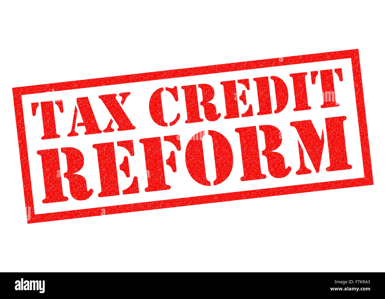 TAX CREDIT REFORM red Rubber Stamp over a white background. Stock Photo