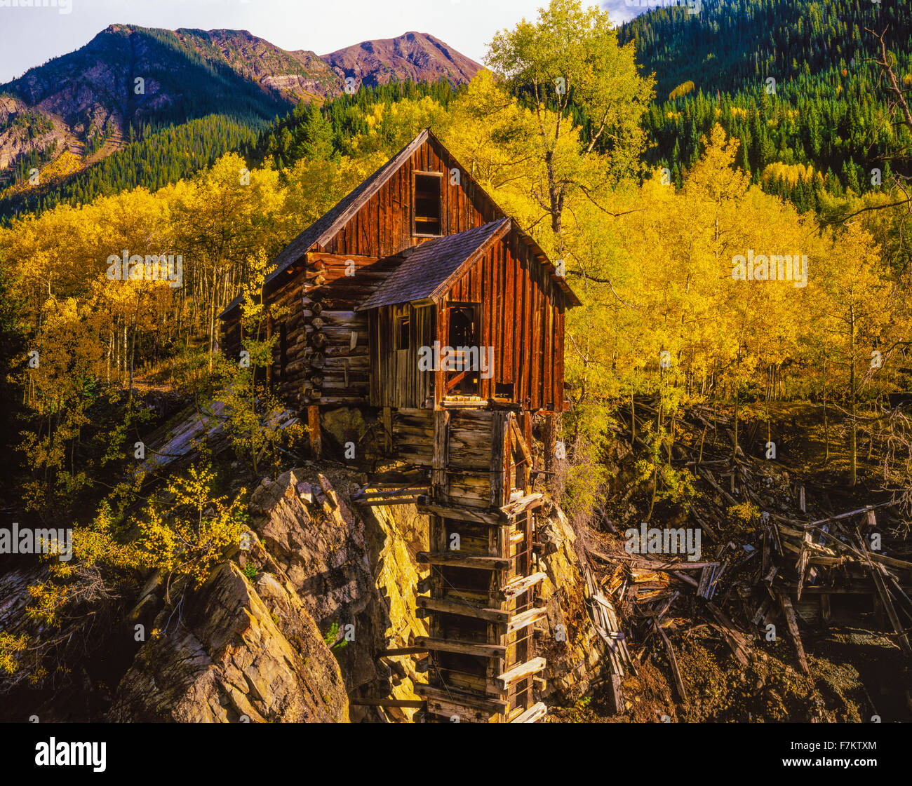 Historic Crystal Mill, Colorado. Crystal City ghost town Elk Range Rocky Mountains - Stock Image