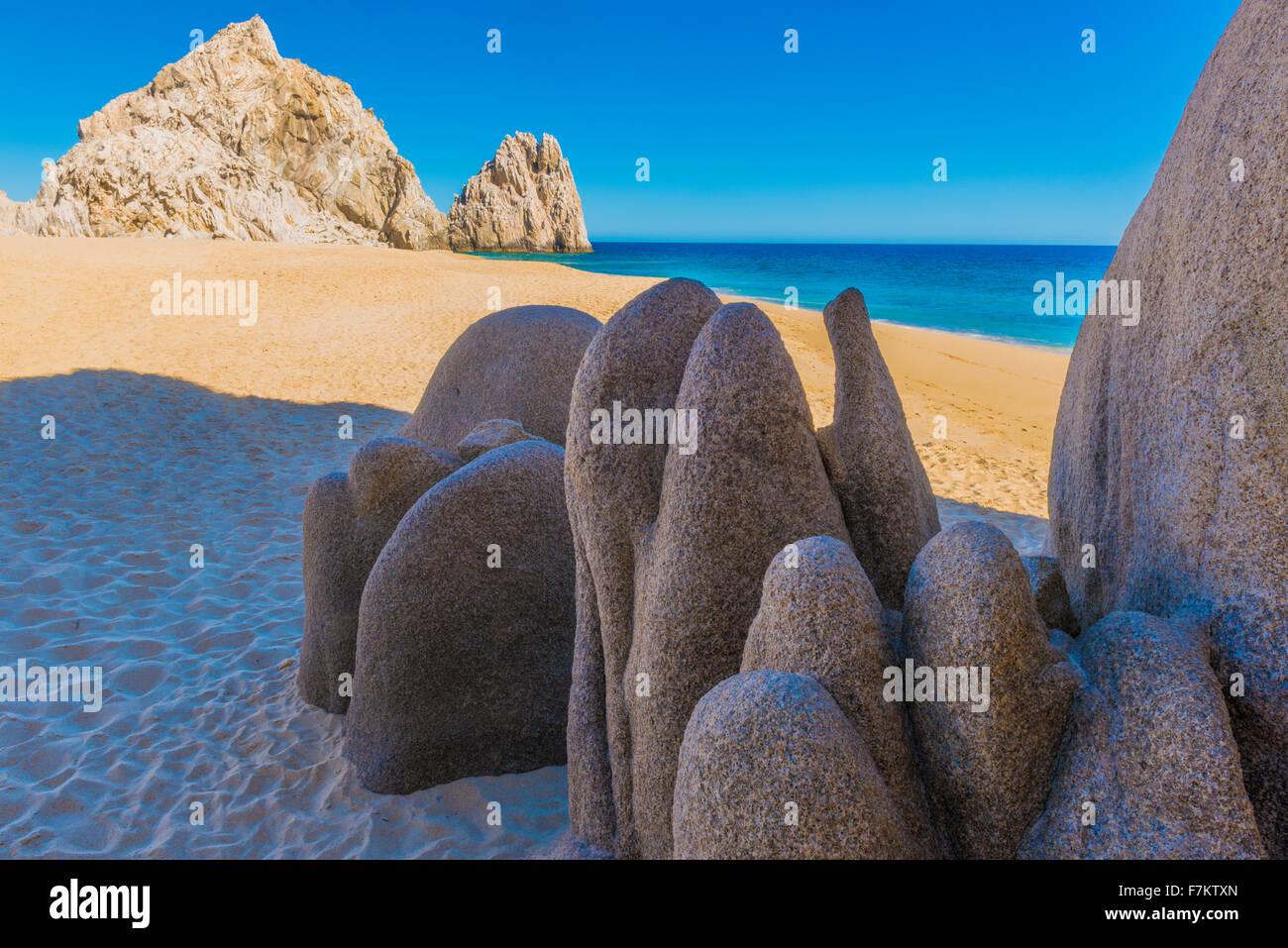Granite forms at Divorce Beach, Baja California, Mexico, Land's End, Tip of Baja Pennisula at Cabo San Lucas - Stock Image