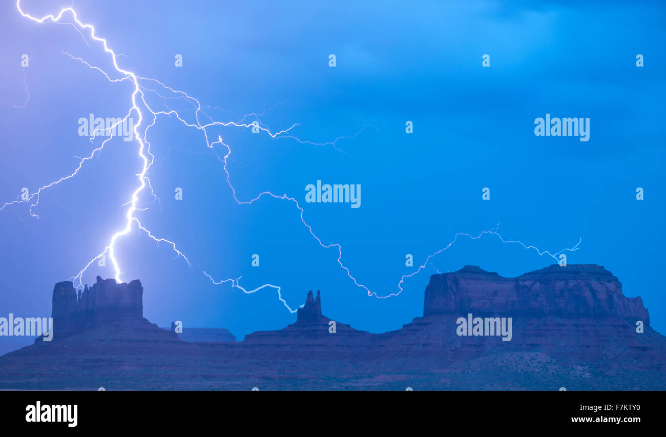 LIghtning striking Monument Valley, Utah  Monument Valley Tribal Park Navajo Reservation - Stock Image
