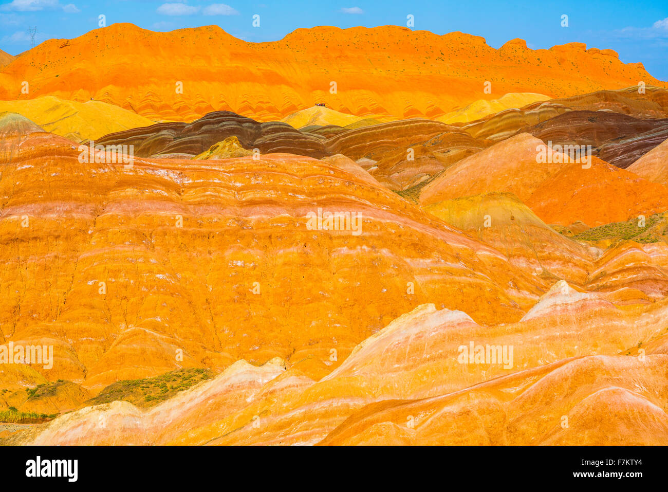 Coloful forms at Zhanhye Danxie Geo Park, China  Gansu Province, Ballands eroded in muliple colors - Stock Image