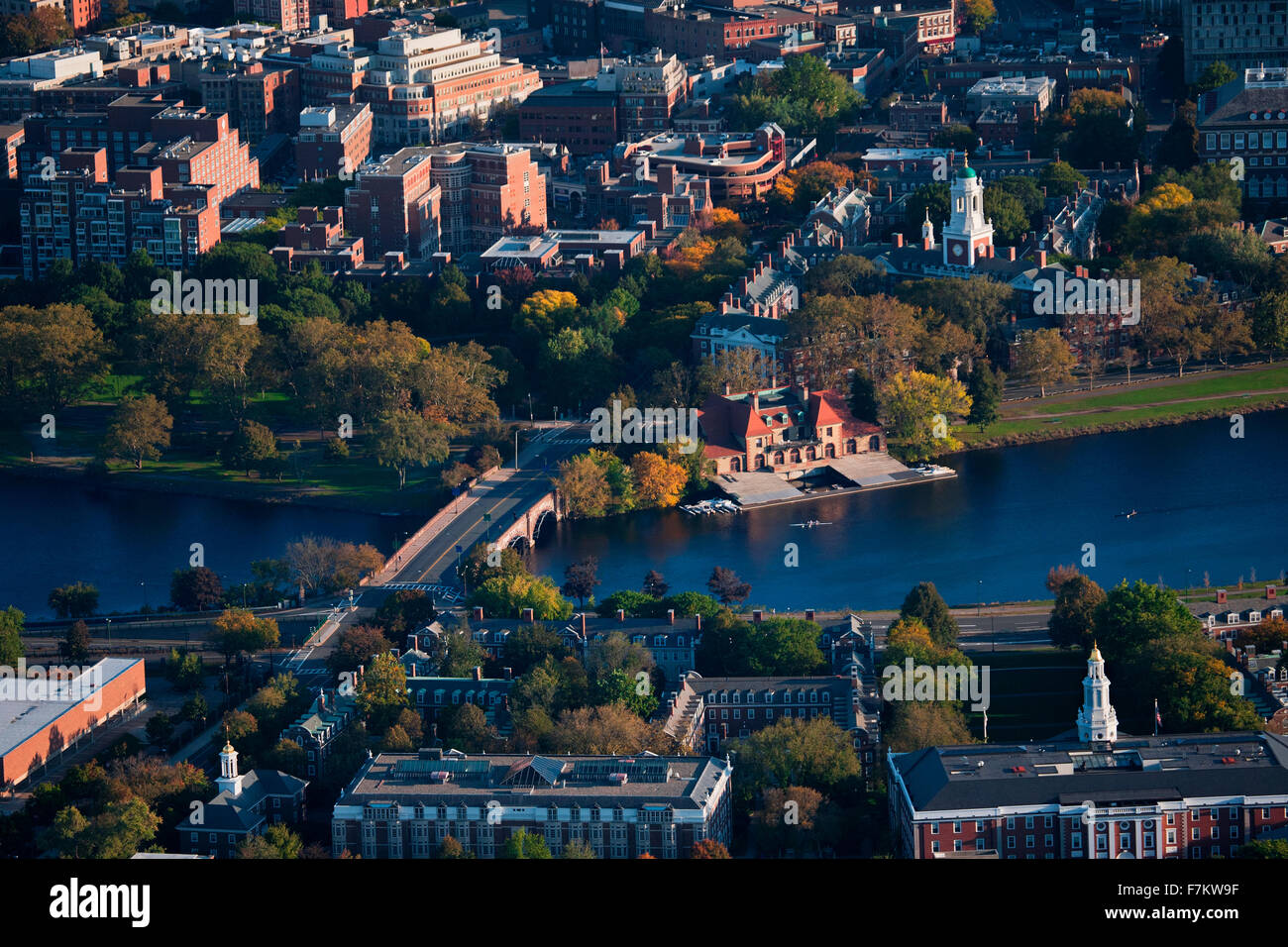 AERIAL VIEW of Cambridge and Anderson Memorial Bridge leading to Weld Boathouse, Harvard on Charles River, Cambridge, - Stock Image