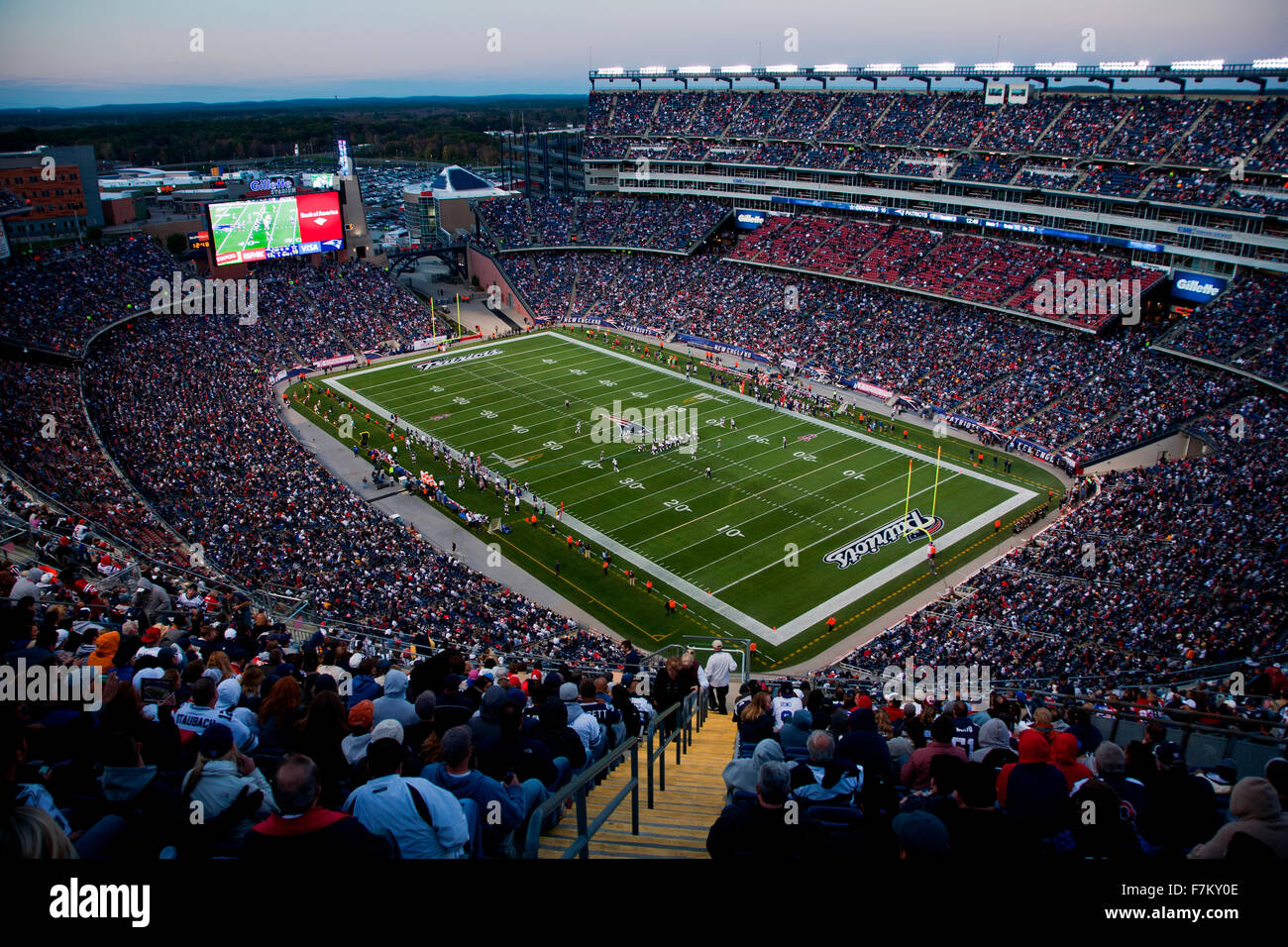 b60737c8804 Elevated view of Gillette Stadium, home of Super Bowl champs, New England  Patriots, NFL Team play against Dallas Cowboys,October 16, 2011,  Foxborough, ...