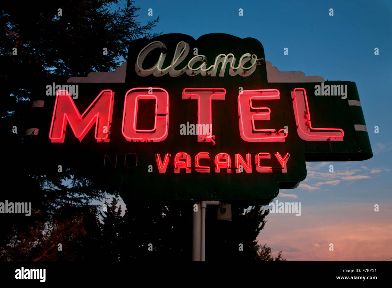Neon sign saying 'Vacancy Alamo Motel' central california - Stock Image