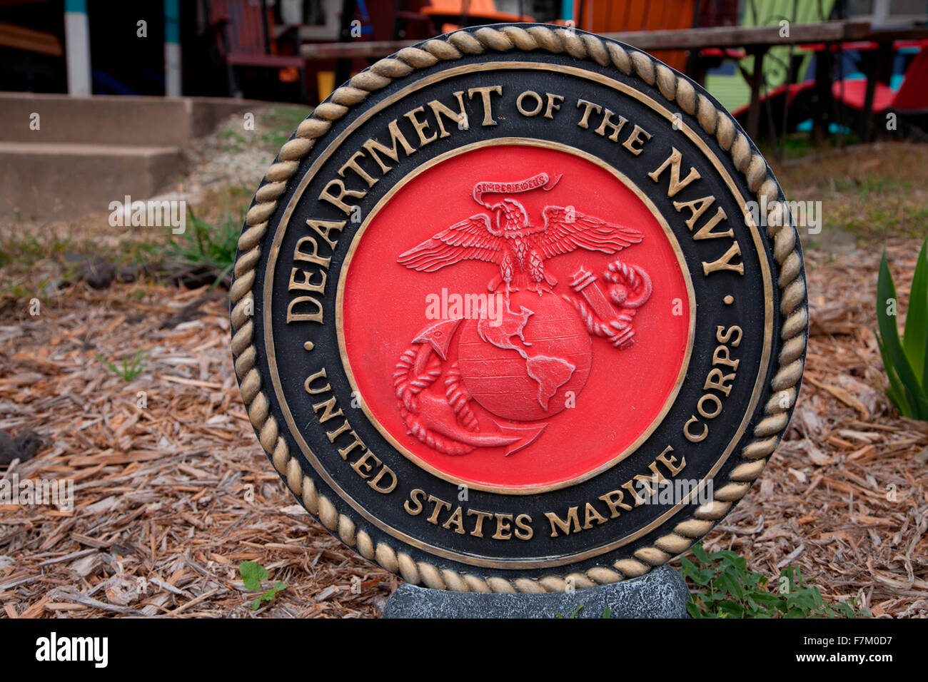 Circular symbol for US Navy and Marine Corps., roadside art found in Grafton, IL. - Stock Image