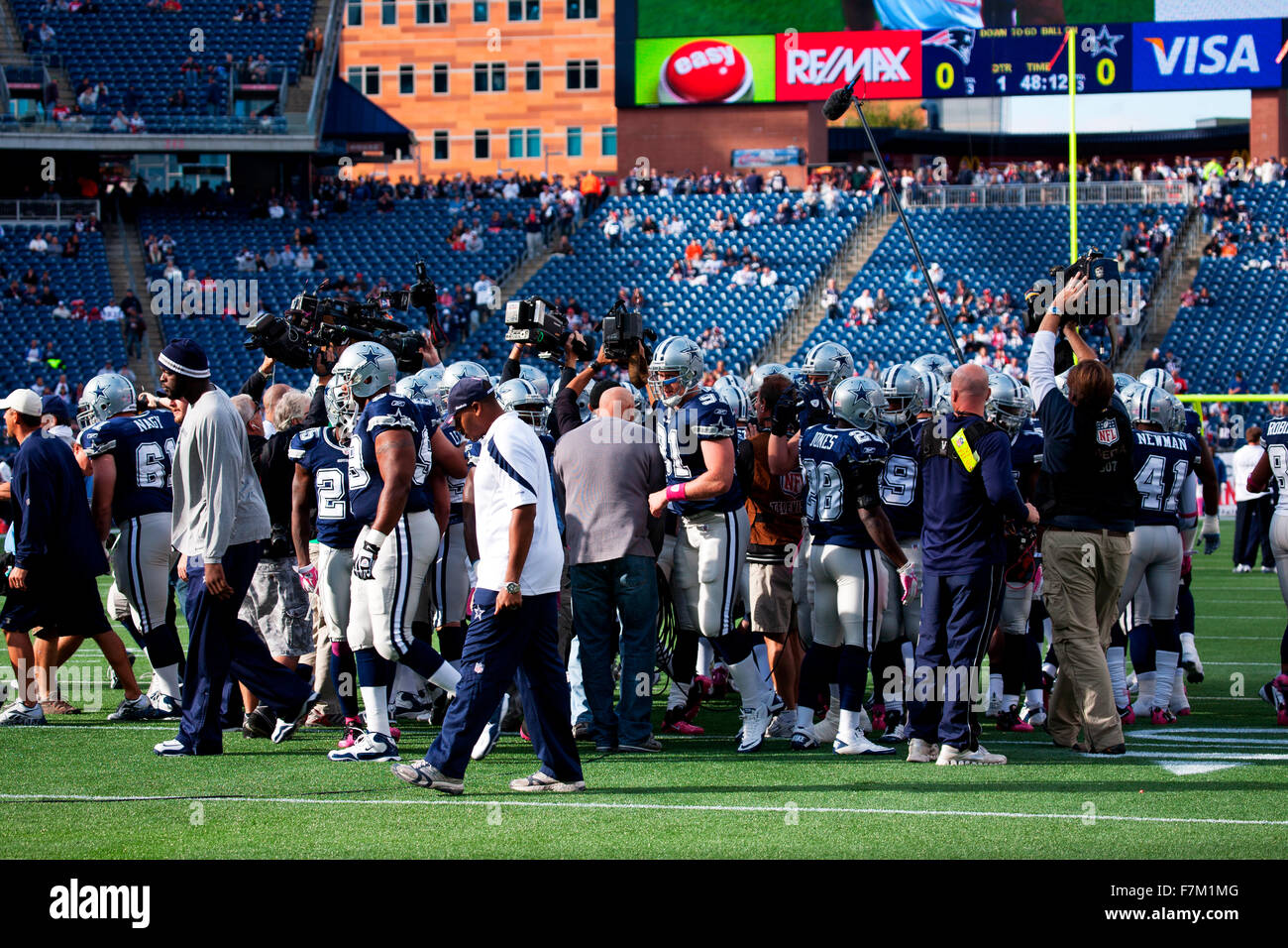 Quarterback Tom Brady, #12, takes hike at Gillette Stadium, the home of Super Bowl champs, New England Patriots, - Stock Image