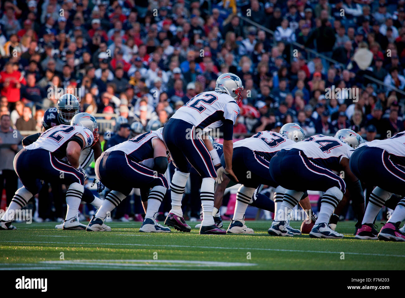 Opening game coin flip between New England Patriots and Dallas Cowboys, on October 16, 2011 NFL football game at - Stock Image