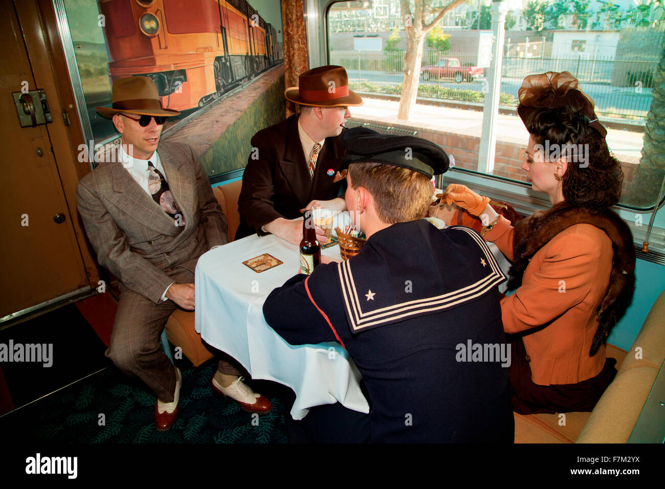 1940's reenactors interact on Pearl Harbor Day Troop train reenactment from Los Angeles Union Station to San - Stock Image