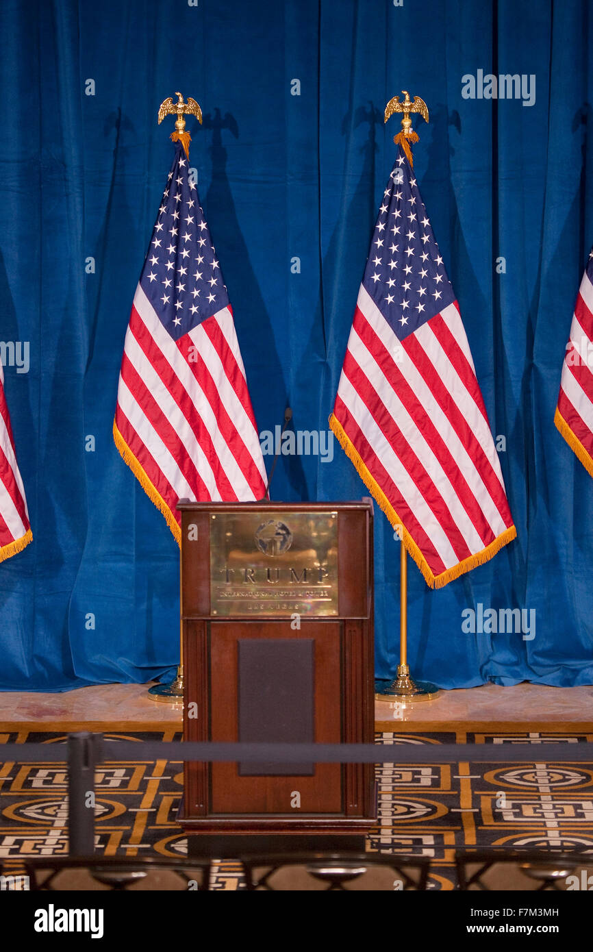 Podium and US Flags at the Trump International Hotel in Las Vegas, where Donald Trump would endorse Presidential Stock Photo