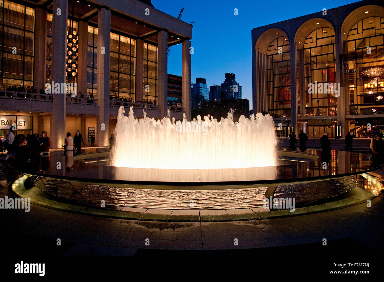 Lincoln Center at dusk and water fountains, New York, New York - Stock Image