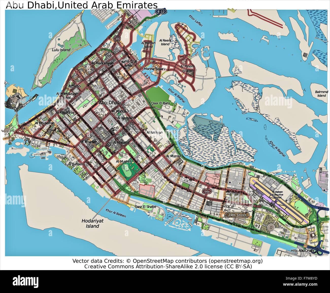 Abu Dhabi United Arab Emirates city map Stock Photo: 90800513 - Alamy