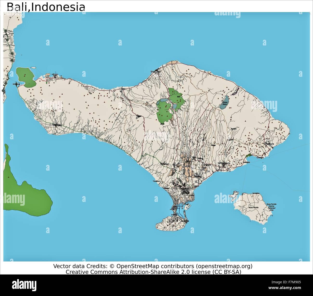 Bali Indonesia Island City Map Stock Photo 90800533 Alamy