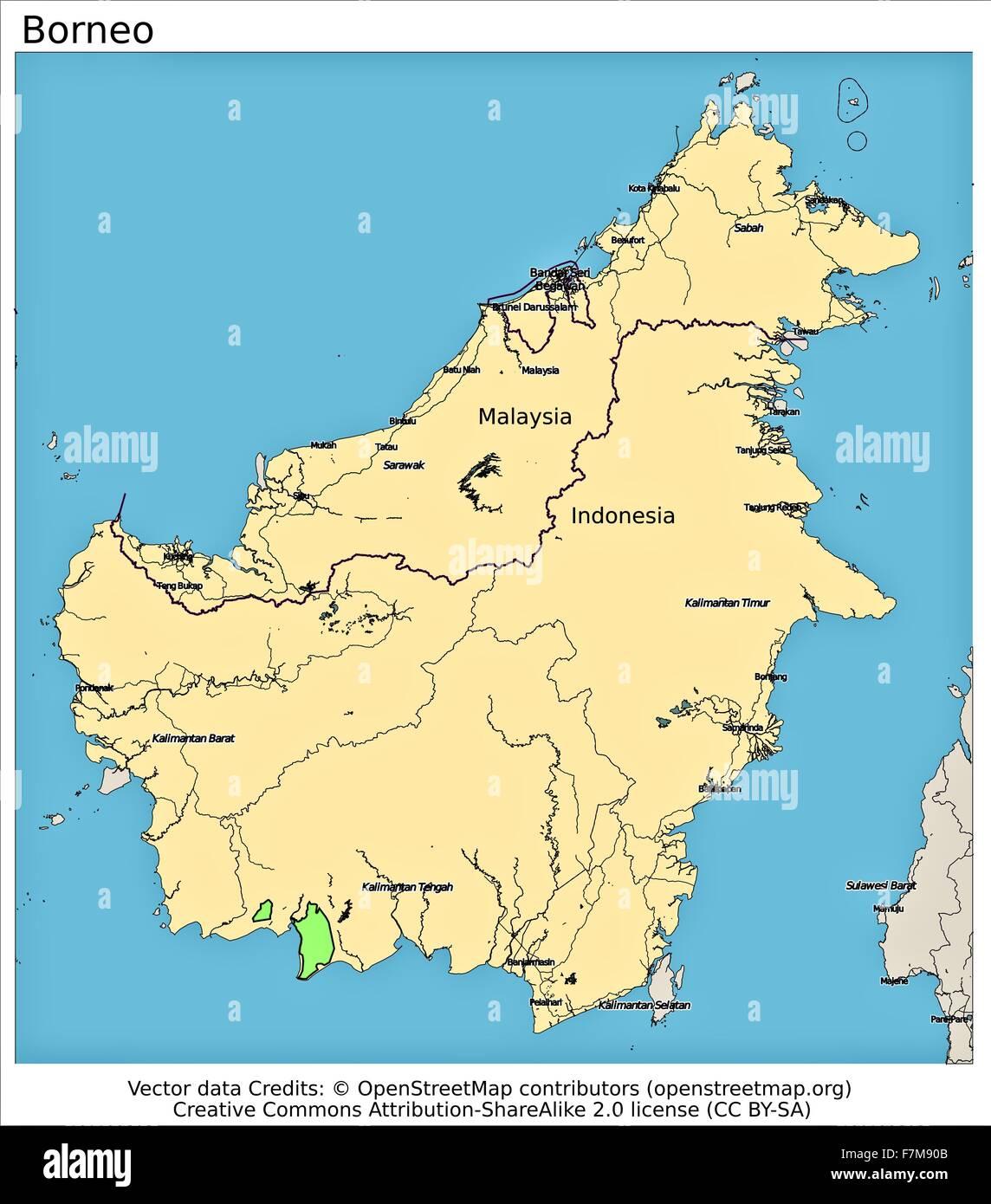 Borneo Island: Map Of Borneo Stock Photos & Map Of Borneo Stock Images