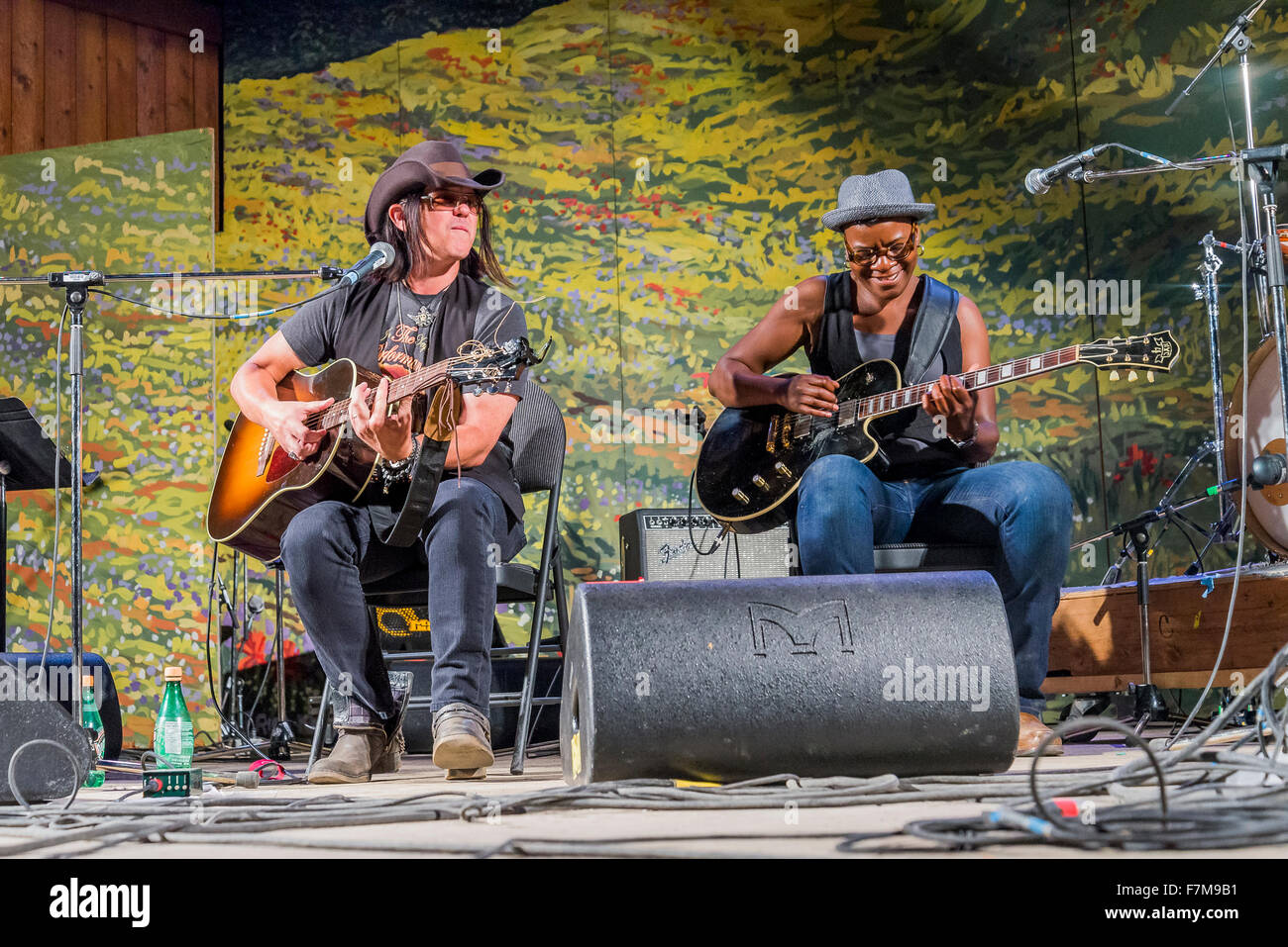 Cecile Doo-Kingue and Mike Farris, Canmore Folk Music Festival, Canmore, Alberta, Canada - Stock Image