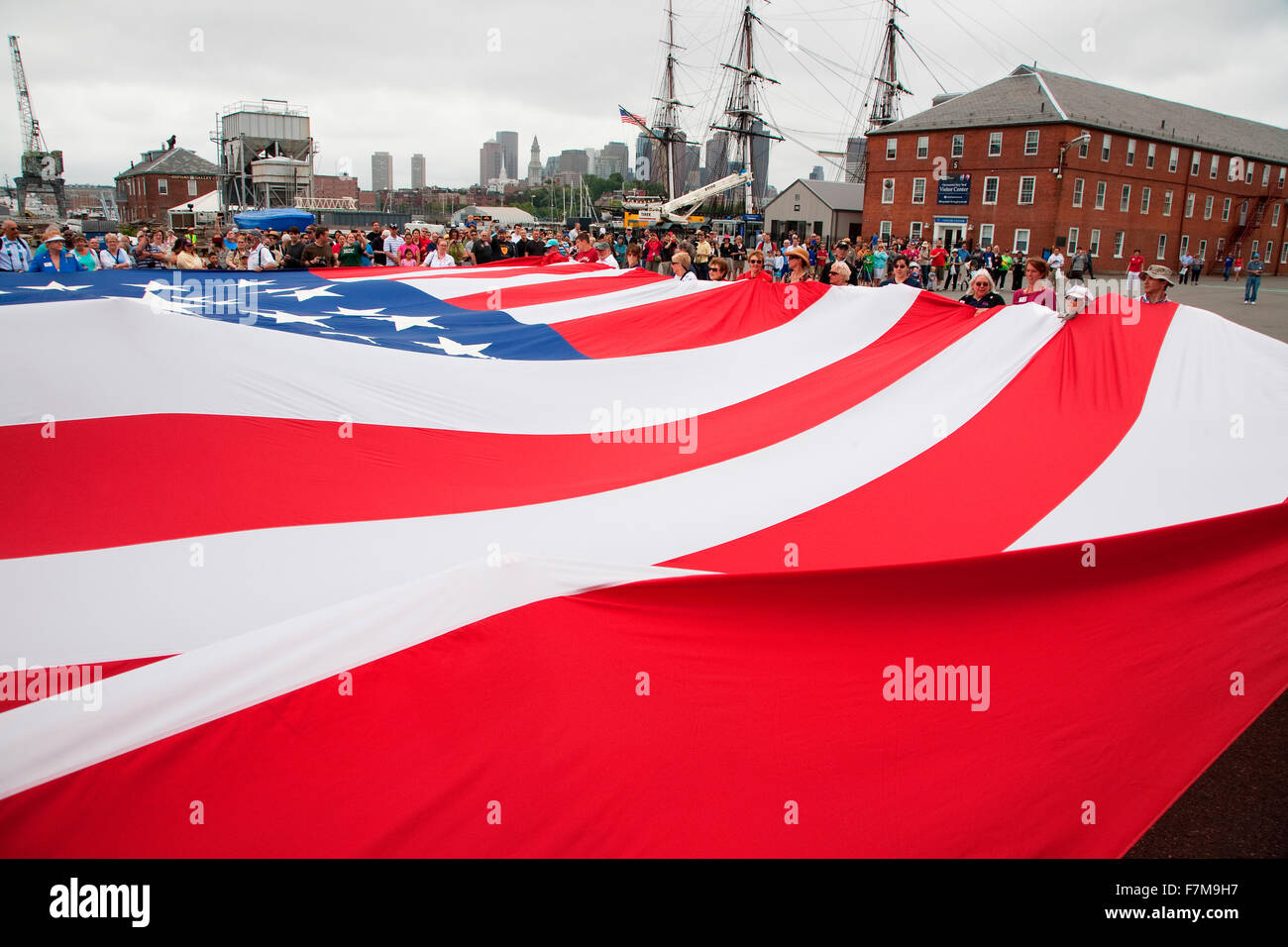 US Flag for Bicentennial of War of 1812 which also feaures Canadian and British flag, USS Constitution Ship and - Stock Image