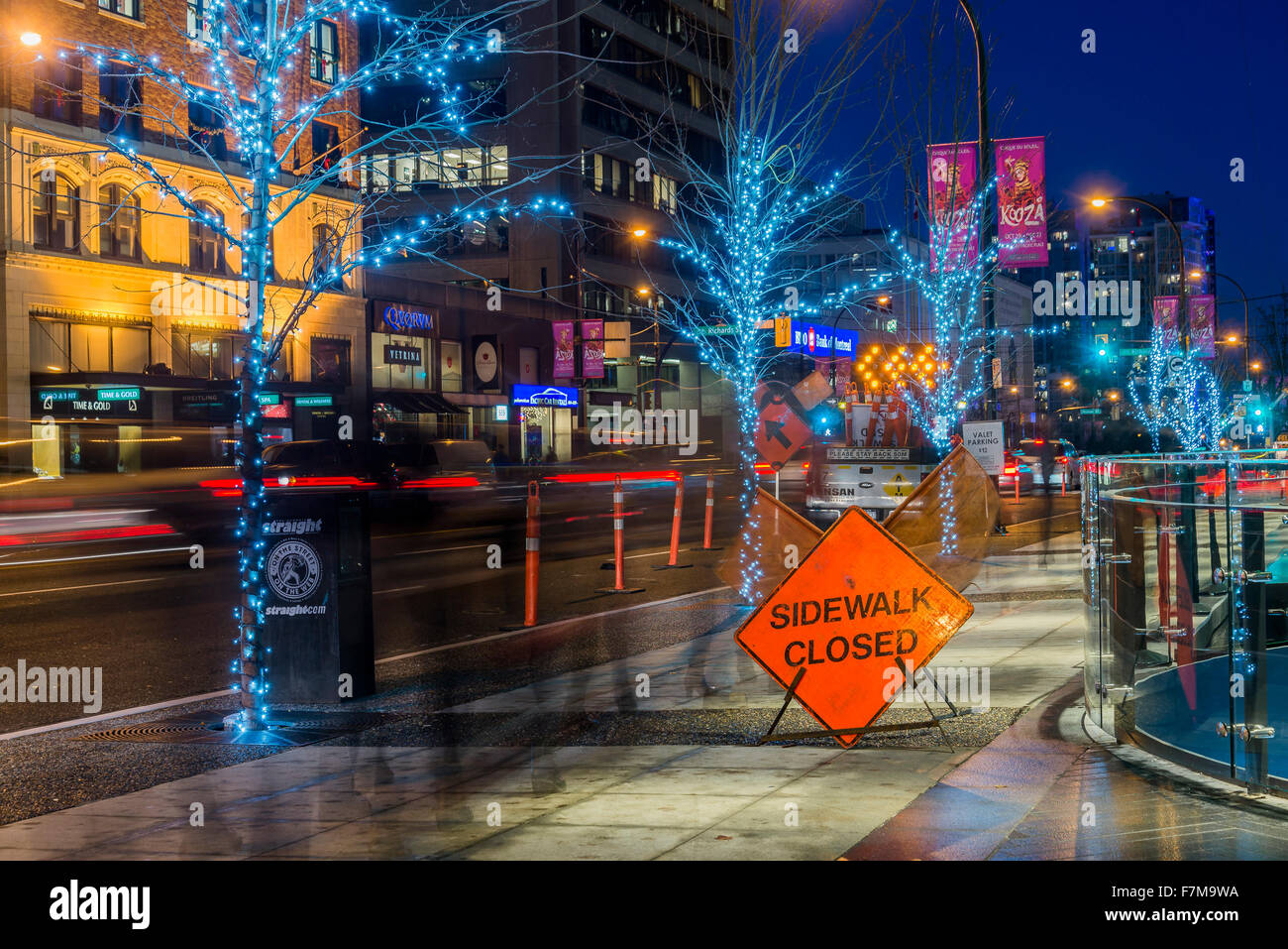 Sidewalk closed sign, Vancouver, British Columbia, Canada, - Stock Image