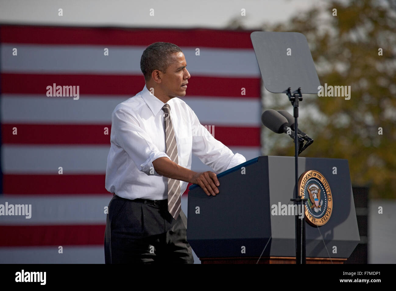 President Barack Obama appears at Presidential Campaign Rally, November 1, 2012, at Cheyenne Sports Complex, North - Stock Image