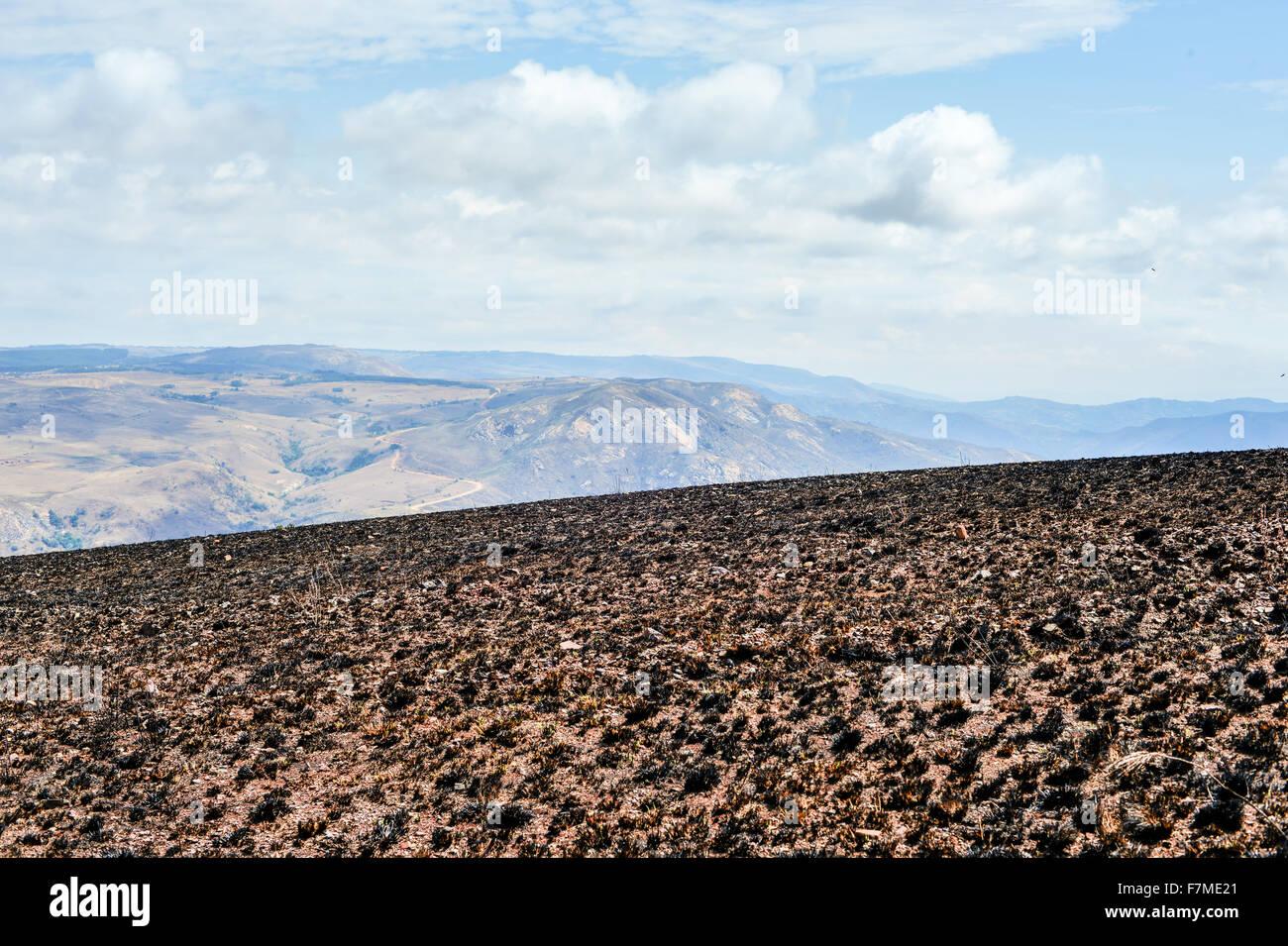 Scorched Landscape in Hhohho, Swaziland outside of Ngwenya Iron Ore Mine. - Stock Image