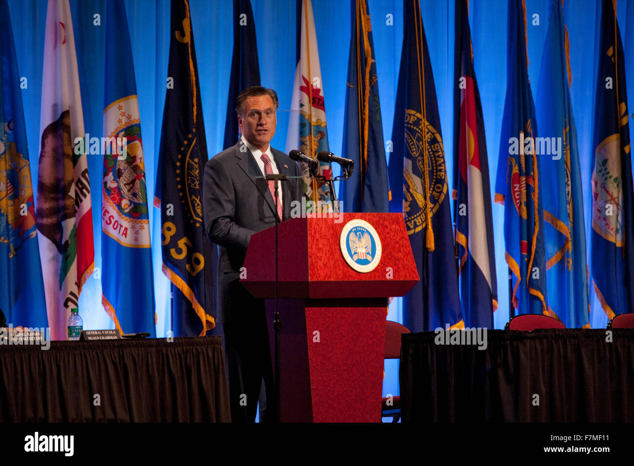 RENO, NEVADA - September 11, 2012: Governor Mitt Romney speaks at the National Guard Association, the 2012 Republican - Stock Image
