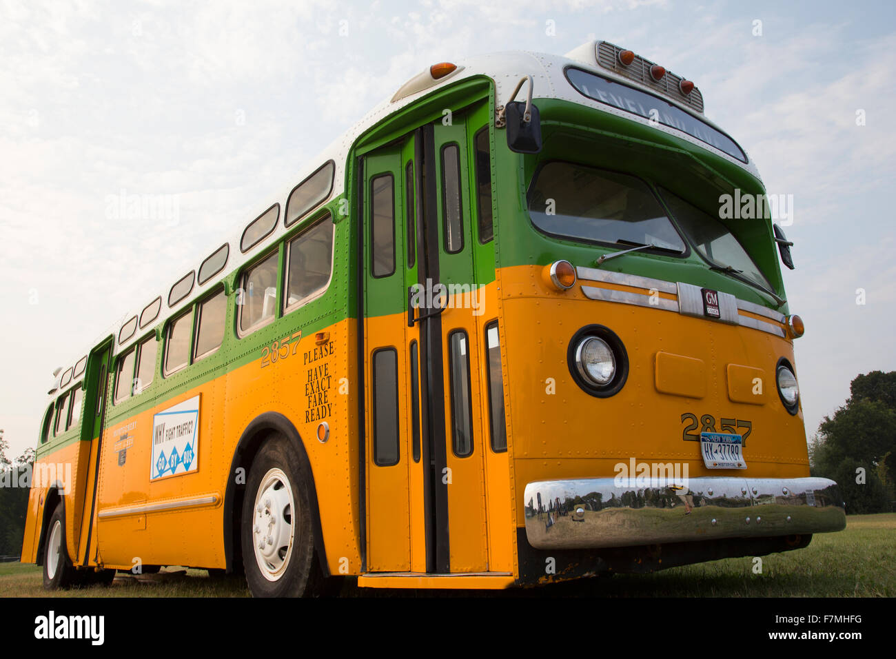 Restored bus Rosa Parks sat in December 1, 1955 from Montgomery Alabama on Cleveland Avenue, is seen in  Washington, Stock Photo