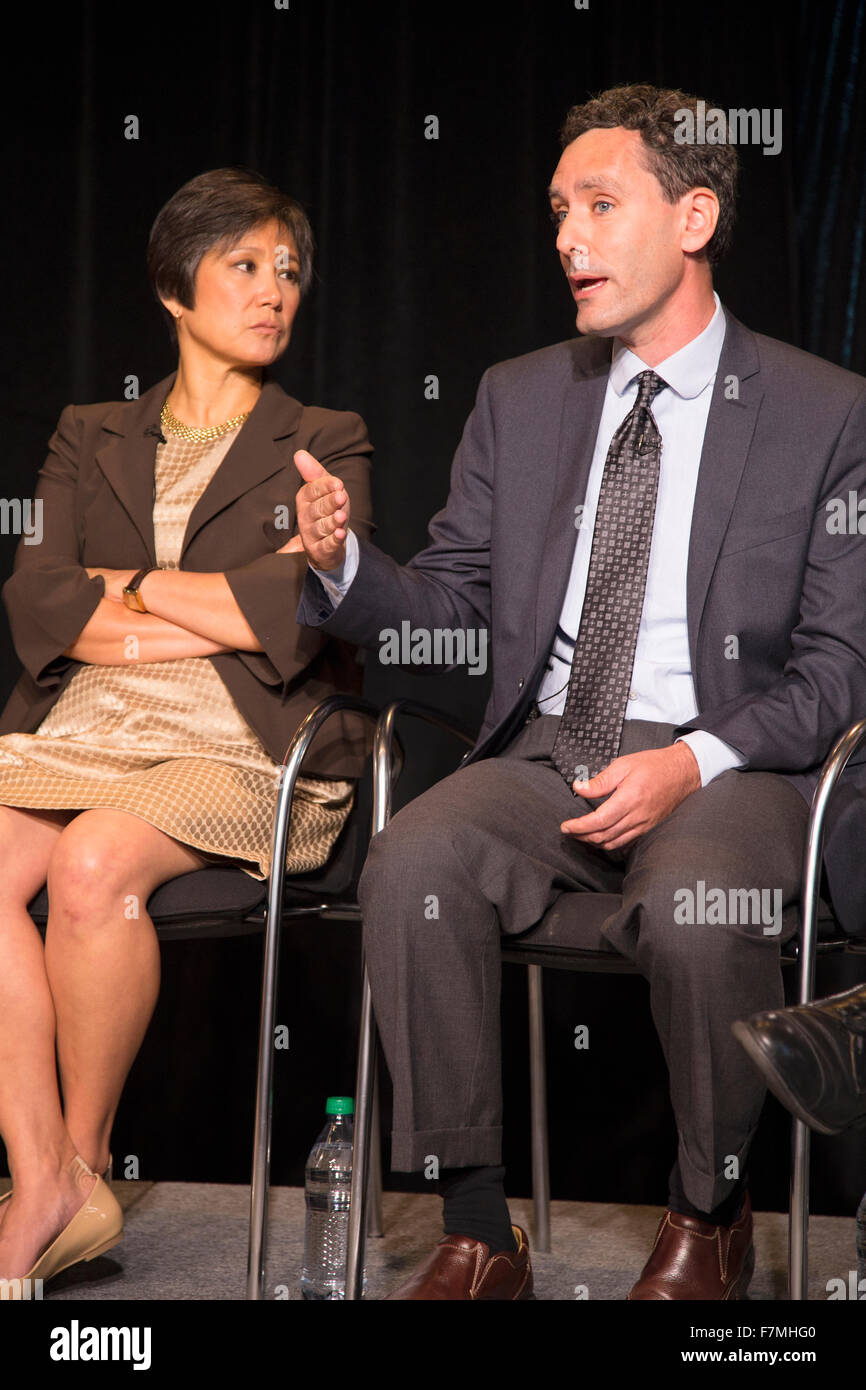 Gordan Whitman speaks with Kathy Ko Chin the president and chief executive officer of the Asian & Pacific Islander - Stock Image