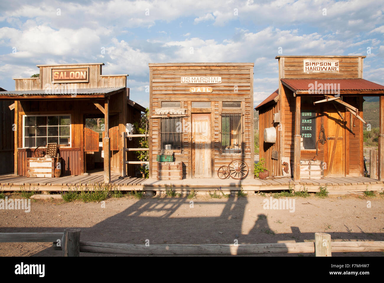 Old West storefronts, Ridgway, Colorado - Stock Image