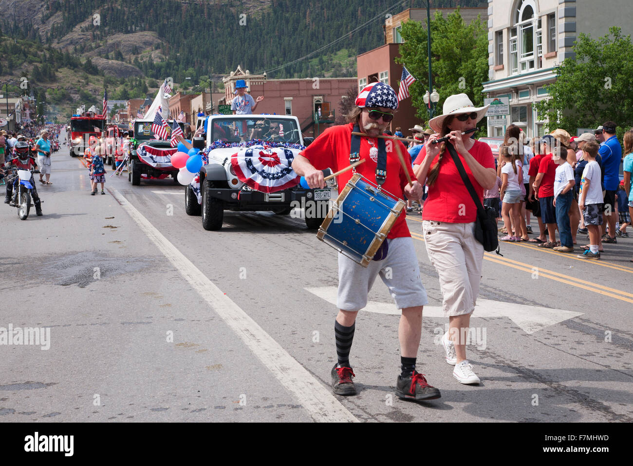 Uncle Sam marches in July 4 Independence Day Parade, Ouray, Colorado - Stock Image