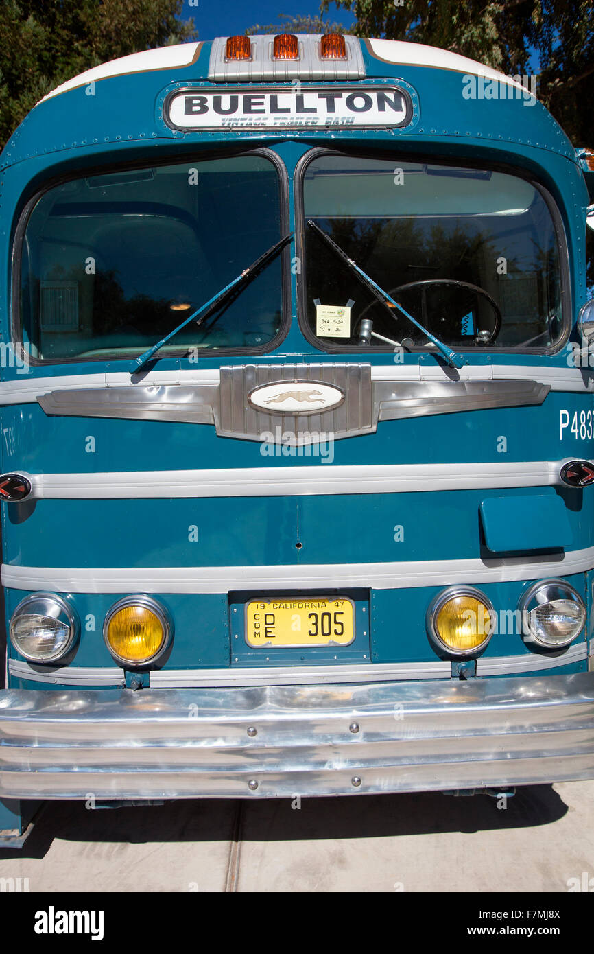 Vintage Converted Bus into RV at the 4th Annual Vintage Trailer Bash, Flying Flag RV Resort, Buellton, California - Stock Image