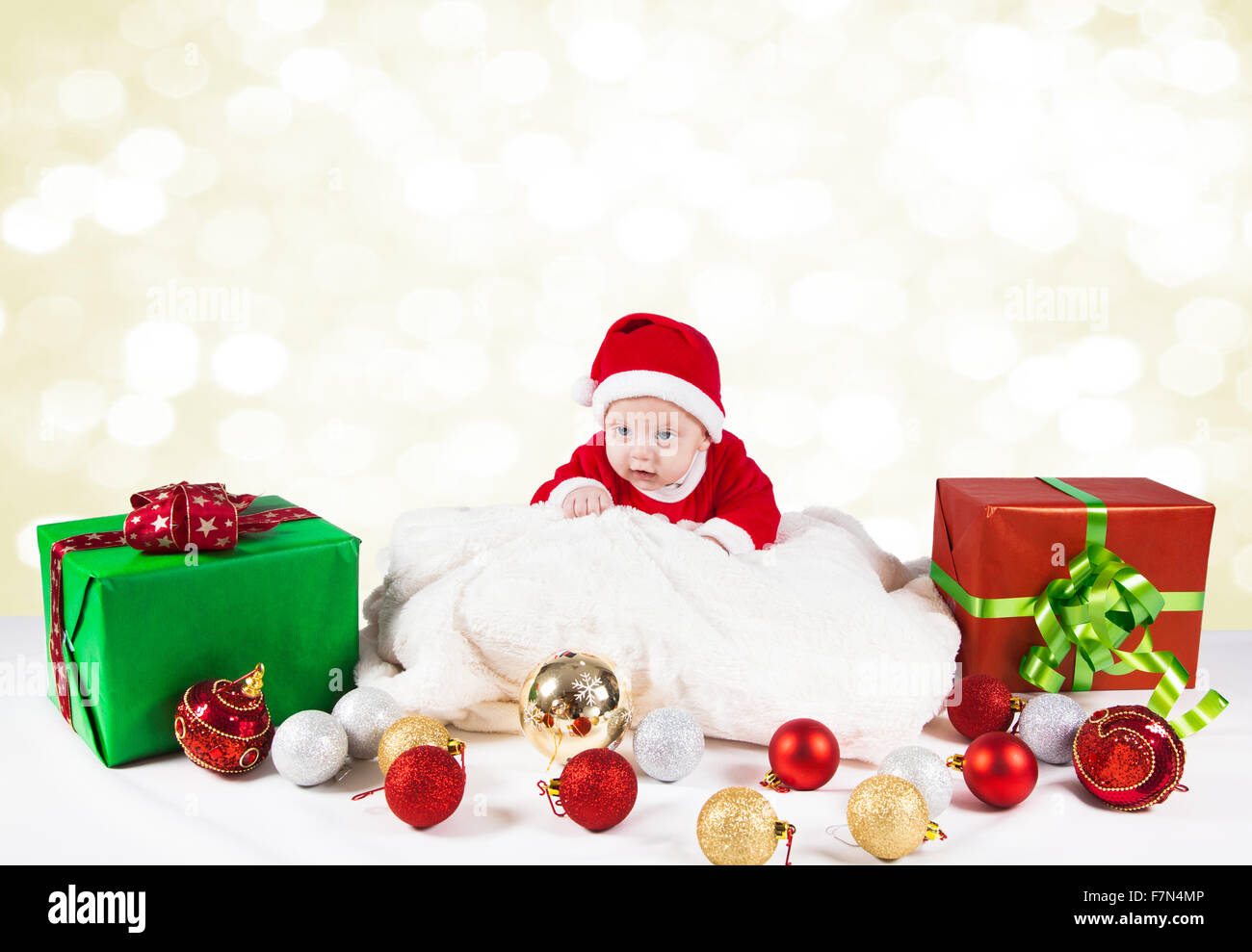 02281d39010 5 months old baby dressed as Santa for Christmas Stock Photo ...