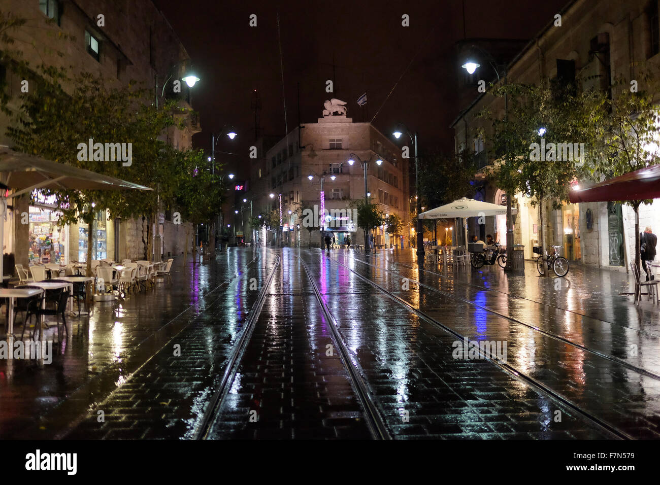 A rainy night in Jaffa road the longest and oldest major street in downtown West Jerusalem Israel - Stock Image