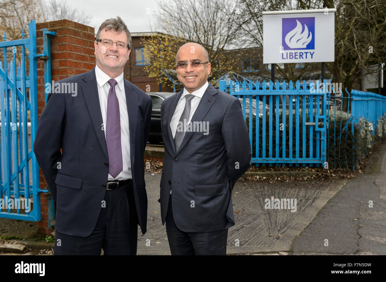 Caparo Tubular Solutions, Oldbury, West Midlands. 1st December 2015. Sanjeev Gupta CEO Liberty House (right) and Stock Photo