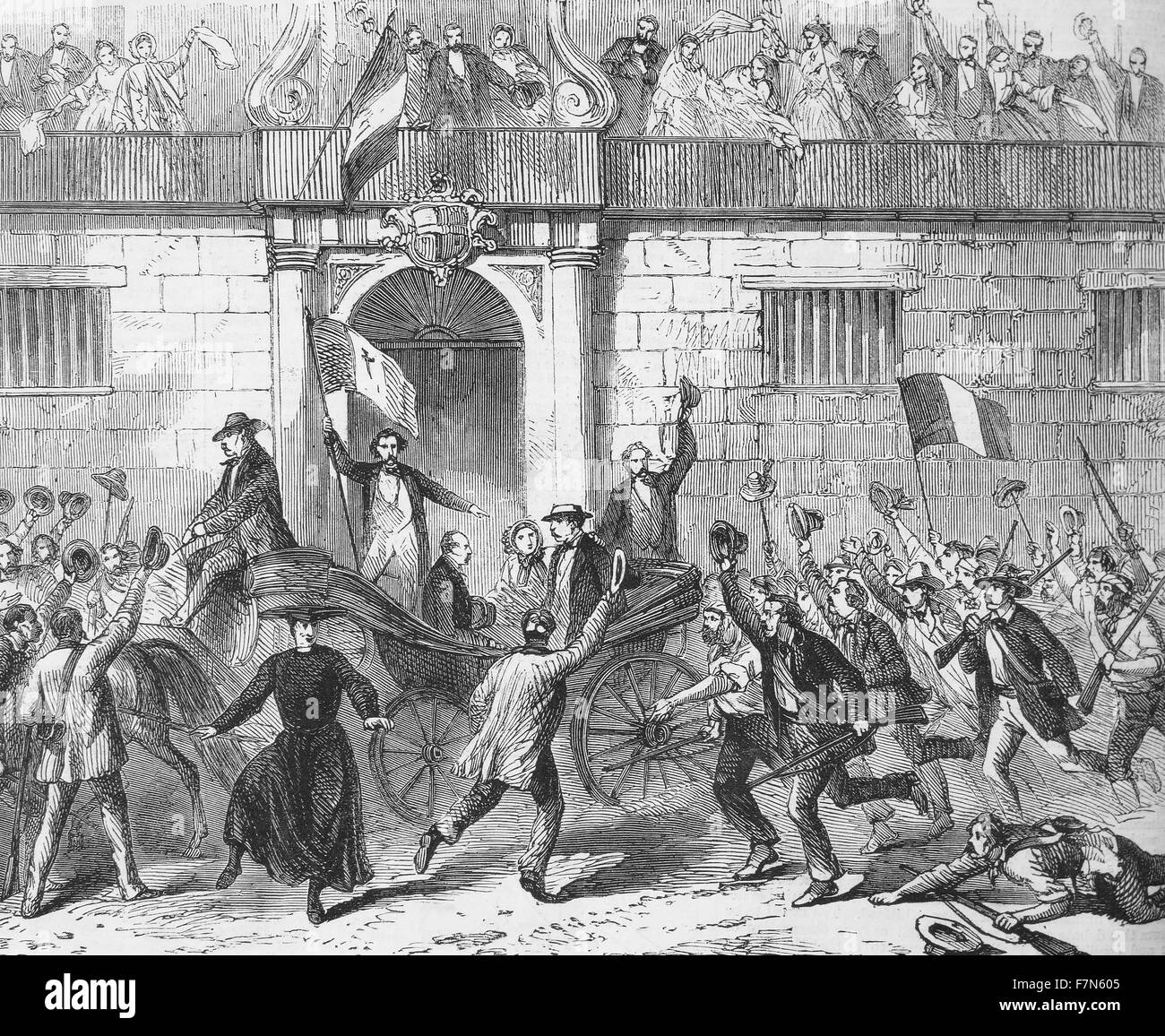 The release of political prisoners from the Castlemare, Palermo, on June 19th. From a sketch by artist Frank Vizetelly. Stock Photo