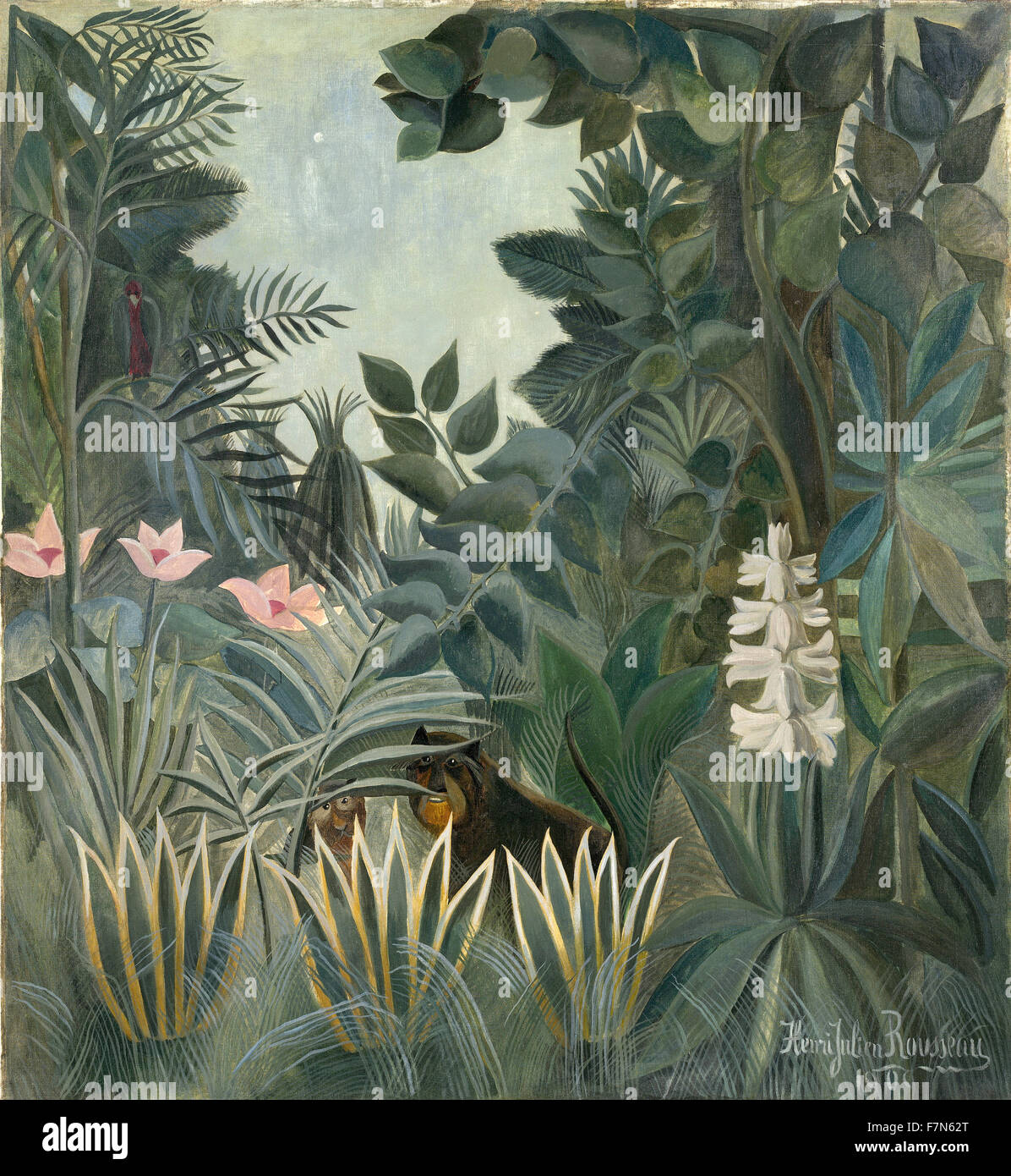 Henri Rousseau - Le Douanier Rousseau - The Equatorial Jungle - Stock Image