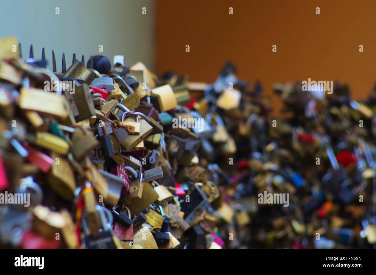 locks wall of locks Pécs - Stock Image