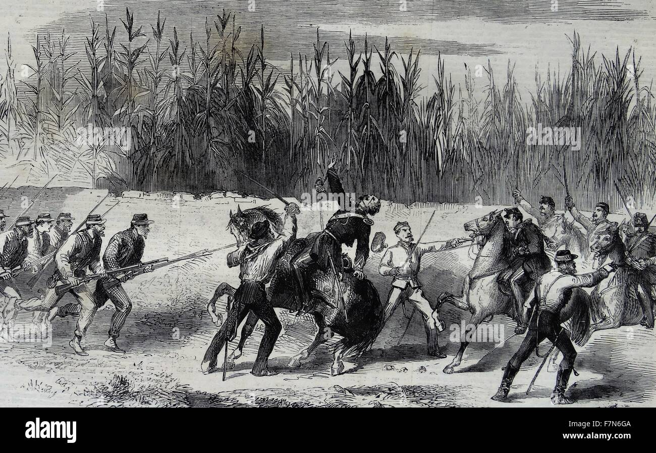 Garibaldi cutting down the Captain of the Neapolitan cavalry in the charge made by the latter near the bridge of - Stock Image