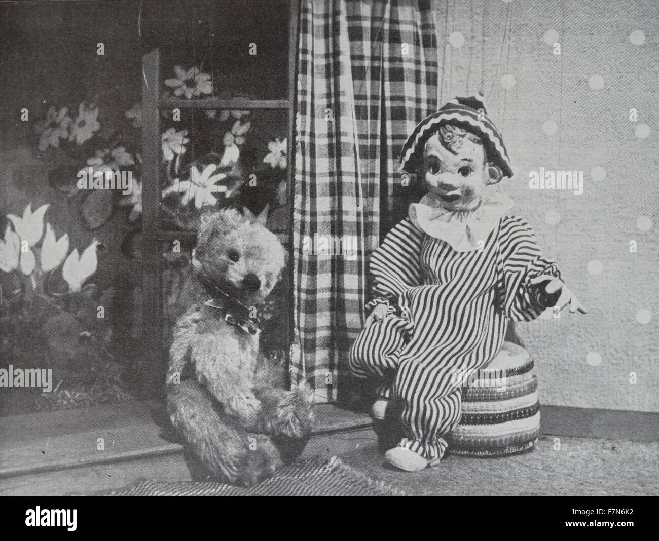 Andy Pandy with his friend Teddy, Television's puppet for the very young. - Stock Image