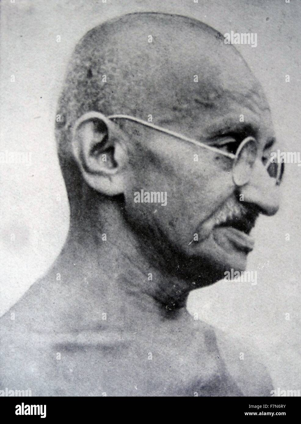 Gandhi, the Indian mystic, politician and leader of the Indian National Congress. - Stock Image