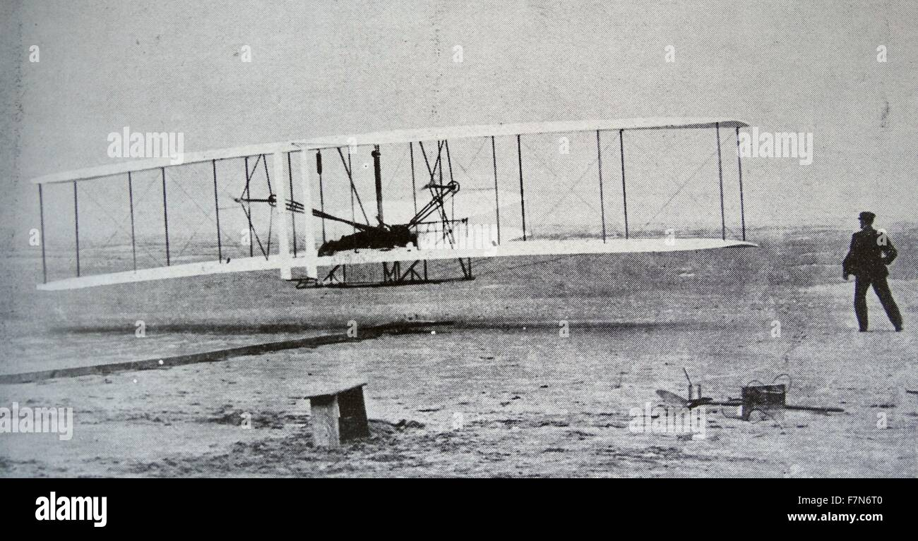 The 'Flyer' makes a perfect take-off.  Orville Wright, arranged that this photograph would be taken of the - Stock Image