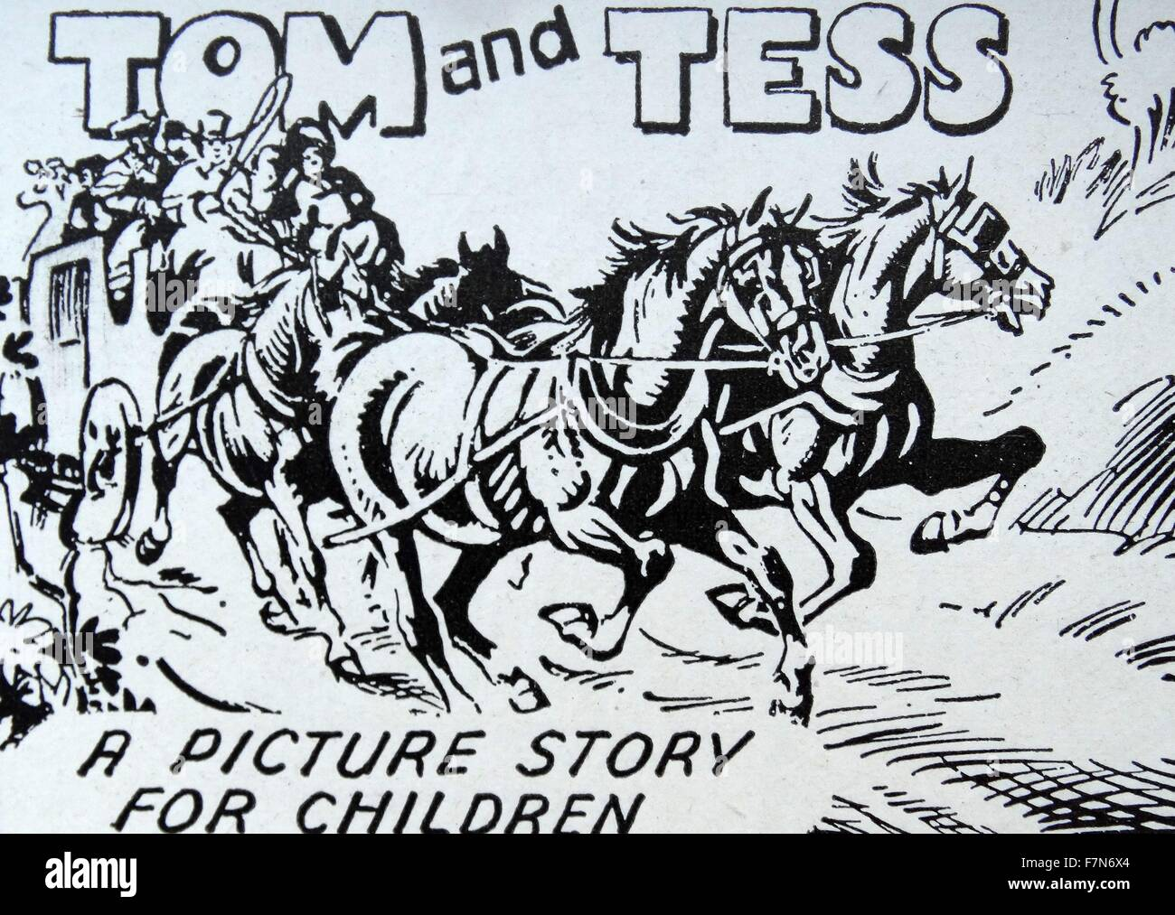 Childrens book illustration about an 18th century, highway robber 1955 - Stock Image