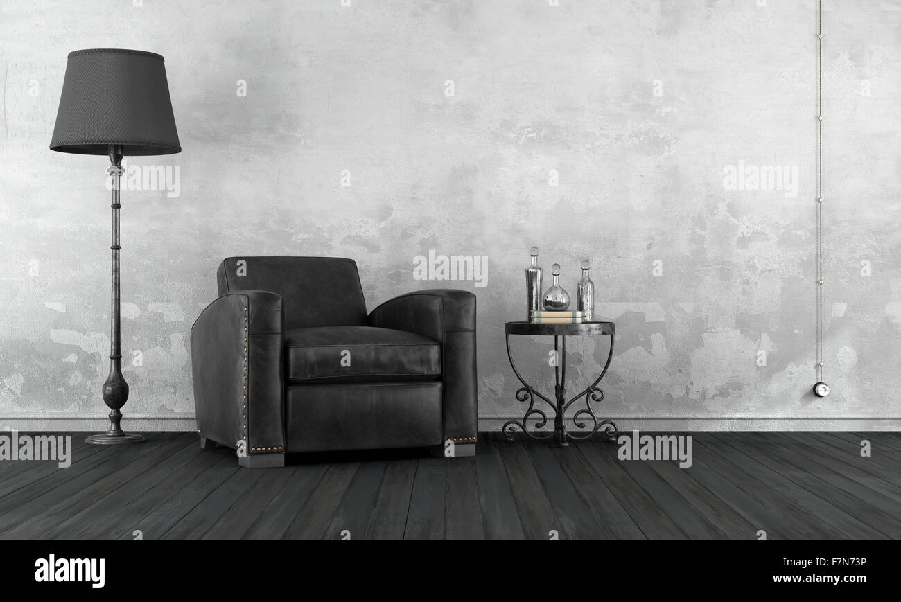 Black and white vintage living room with leather armchair and ...