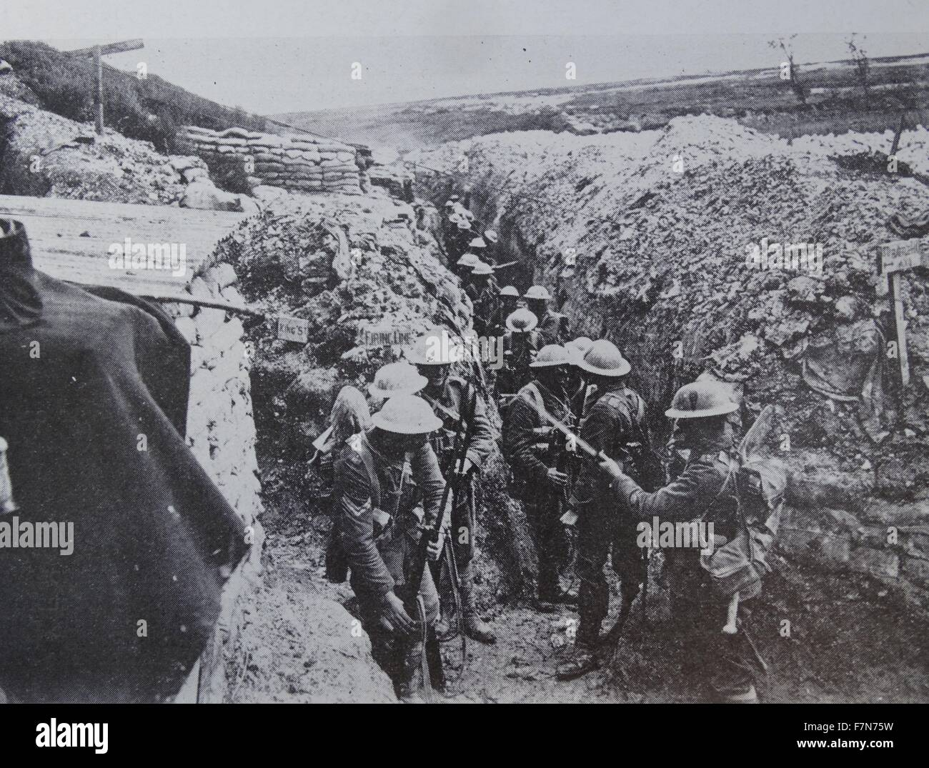 Before the Battle of Albert in July 1916, the 1st Lancashire Fusiliers fix bayonets.   This trench is typical of Stock Photo