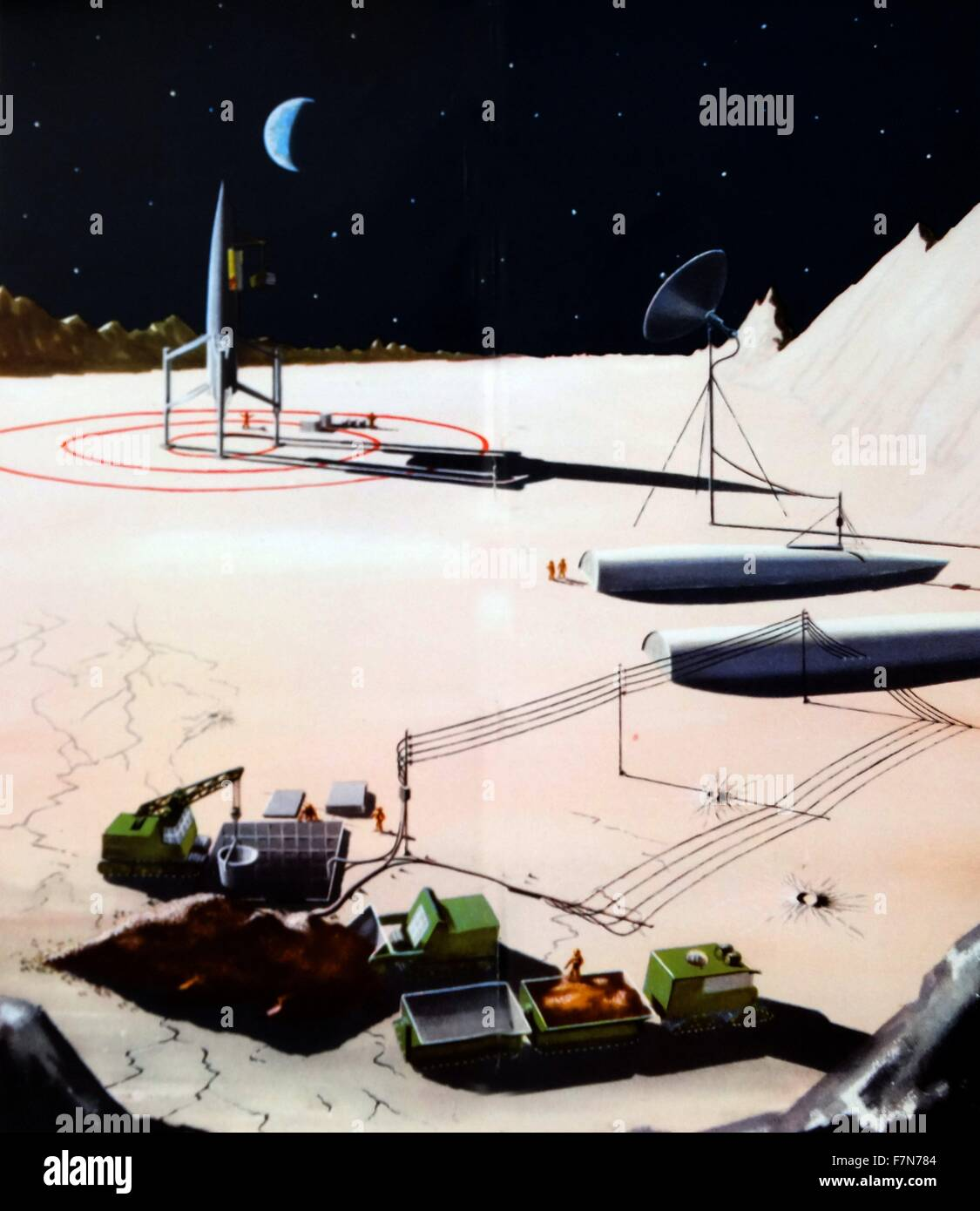 futuristic vision of a moon base 1948 - Stock Image