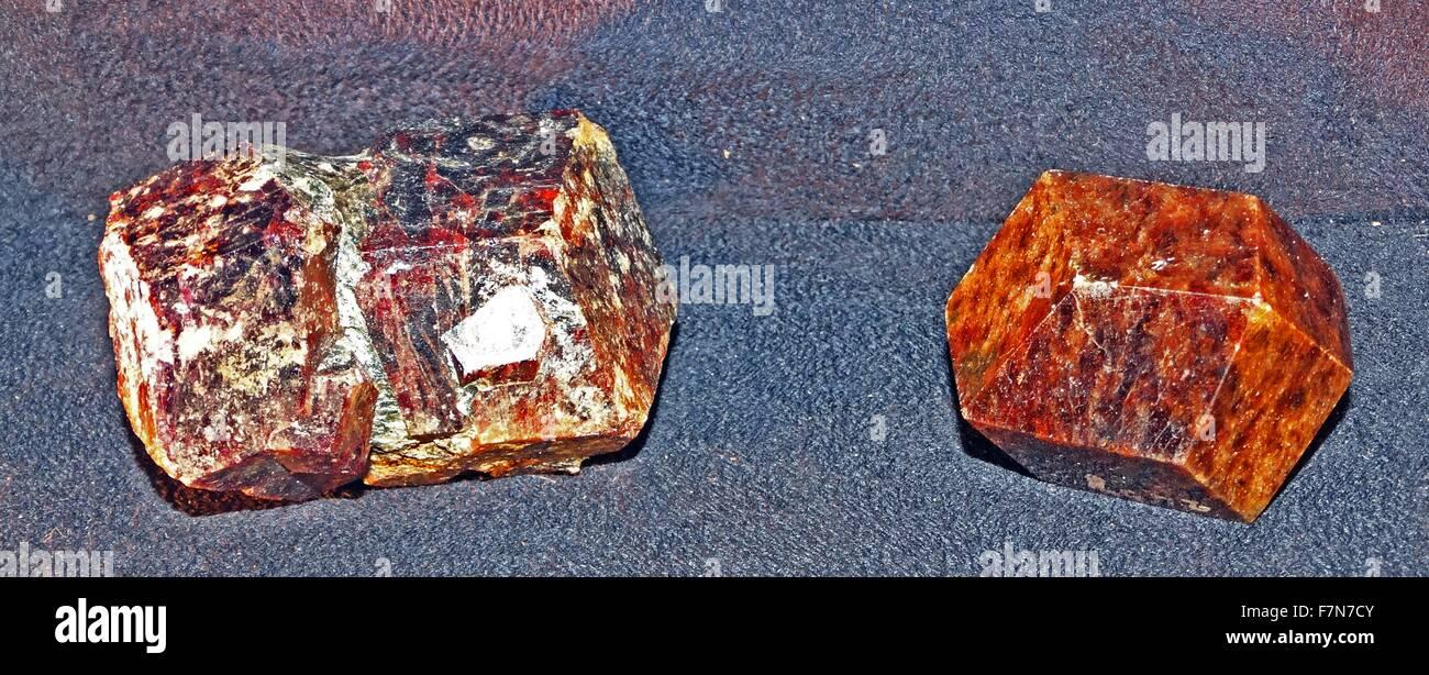 Twinned crystals of garnet.  Polished garnet crystal. 2014 - Stock Image