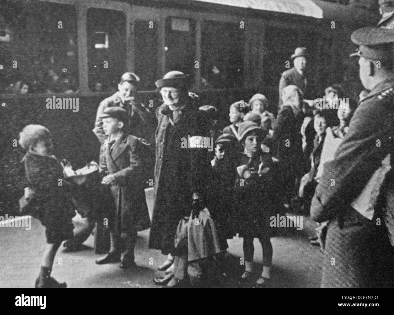 Shortly after the outbreak of World war Two, children were evacuated from cities thought to be liable to attack. - Stock Image