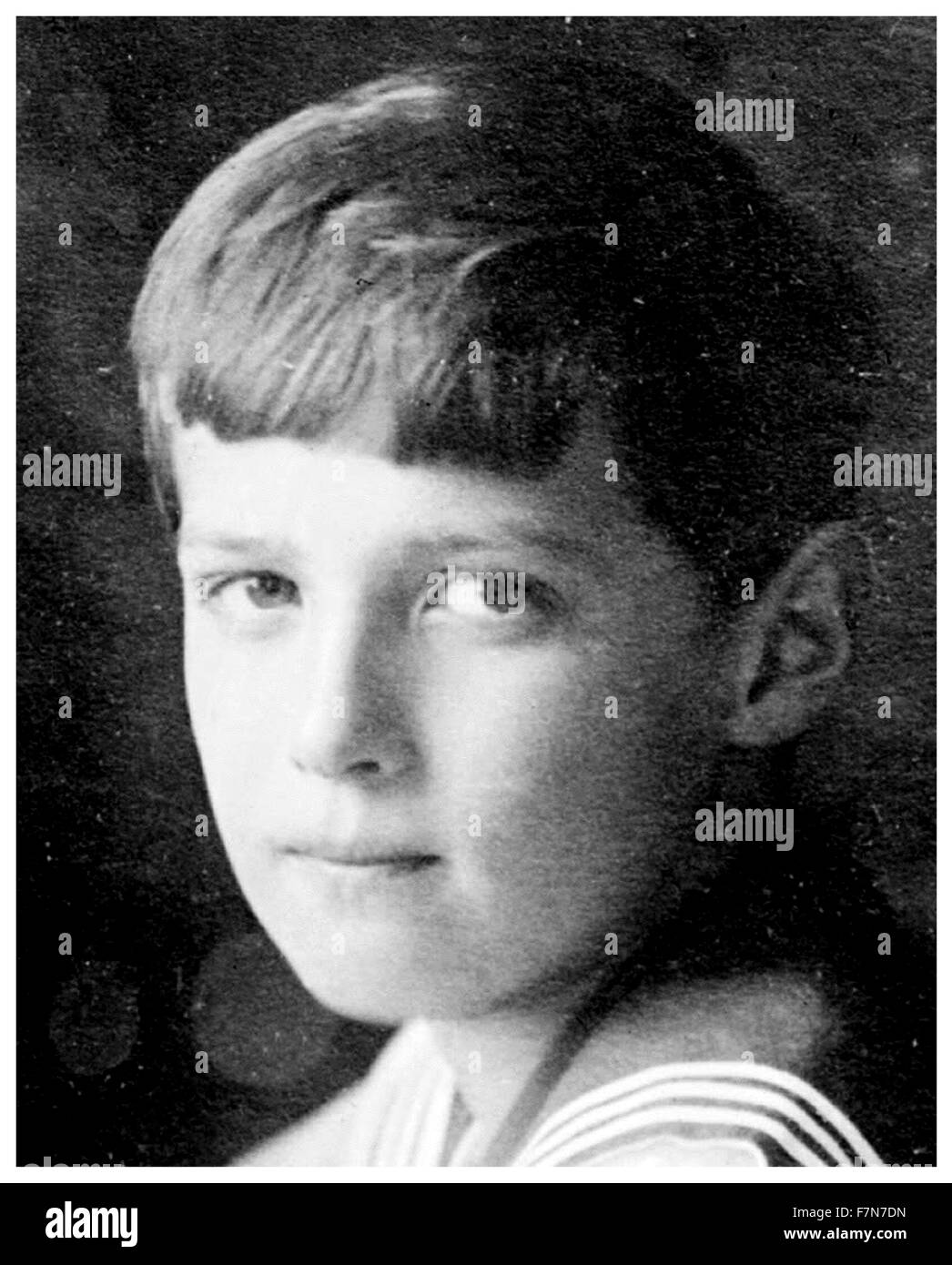 Alexei Nikolaevich (12 August 1904  – 17 July 1918) of the House of Romanov, Tsesarevich and heir apparent to the - Stock Image