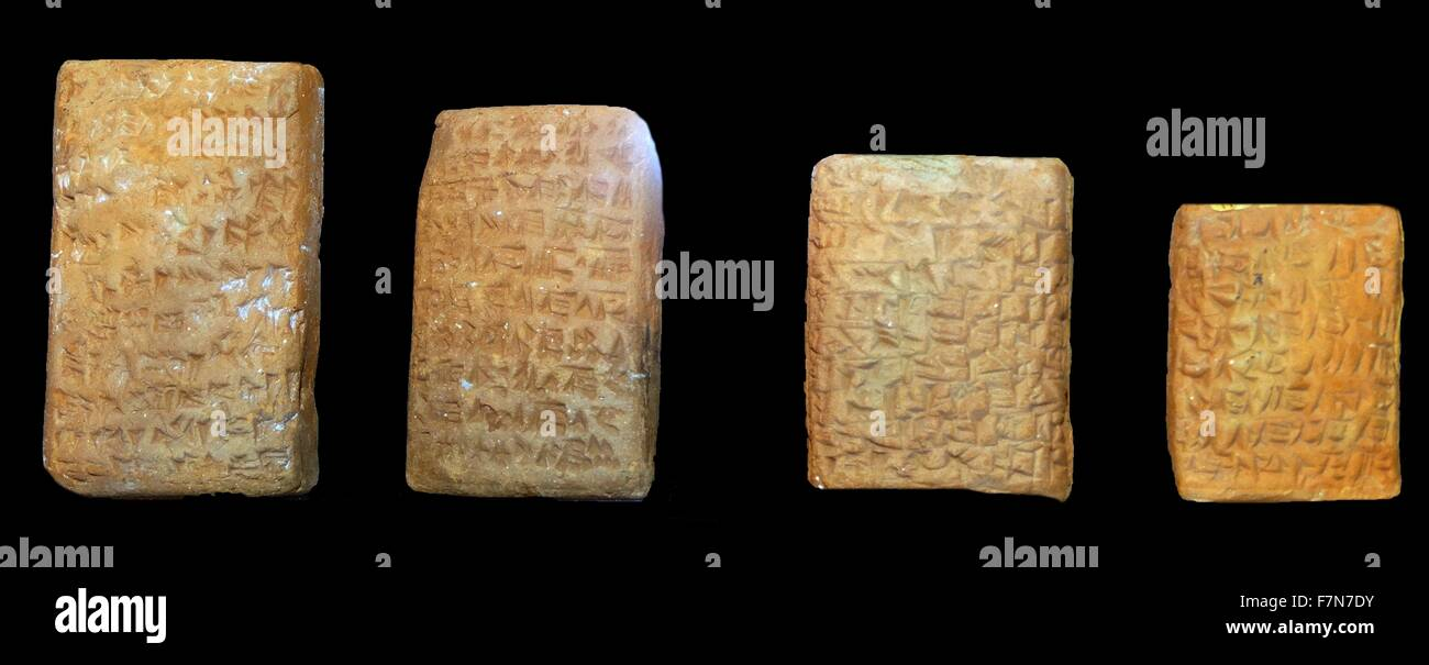 Copies of ancient mesopotamian; cuneiform clay tablets circa 1800BC - Stock Image